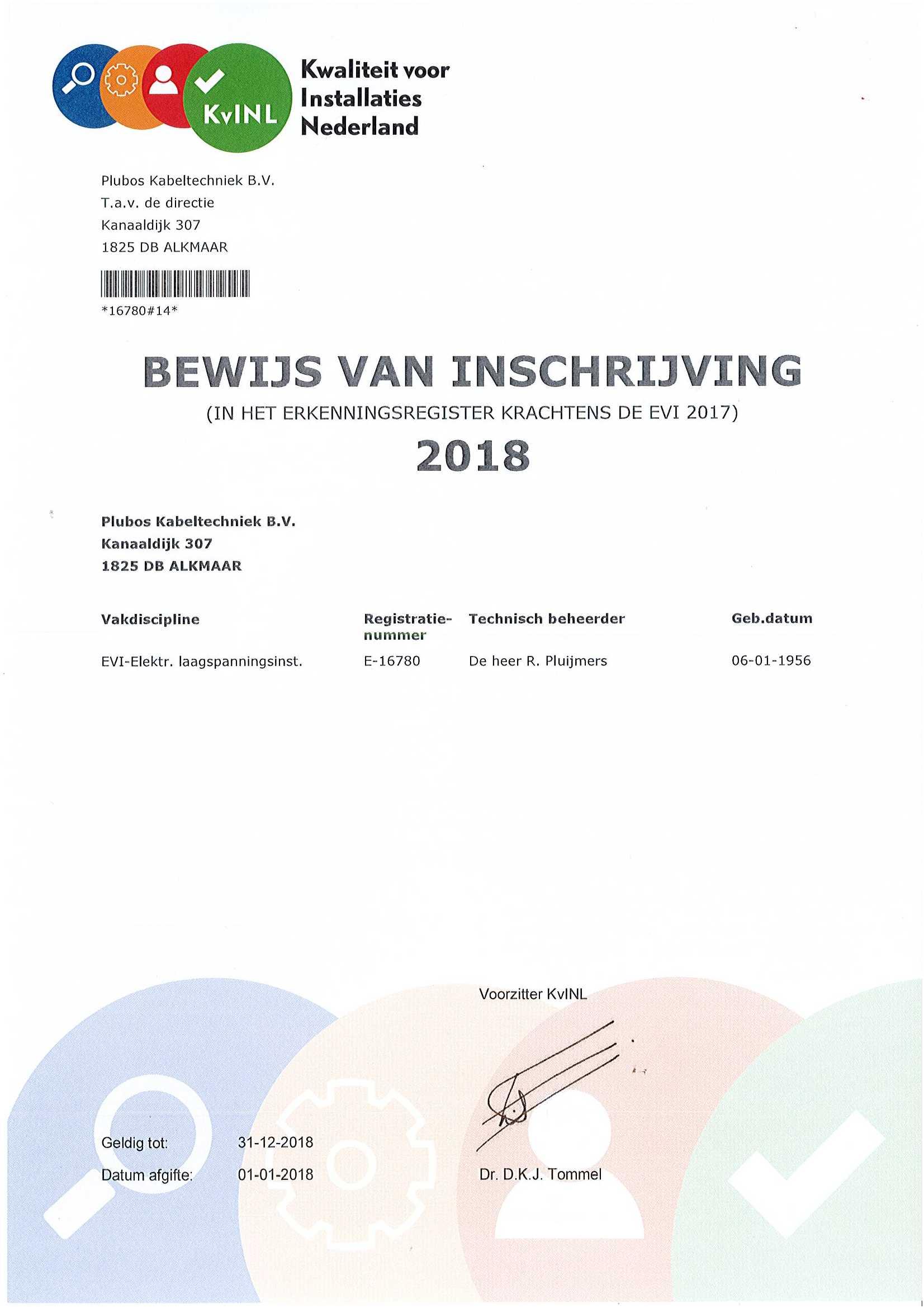 KvINL Bewijs van lidmaatschap 2018